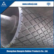 High friction diamond pattern rubber pulley lagging