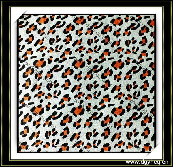 Microfiber leopard print leather synthetic suede nubuck leather for belt shoes handbags