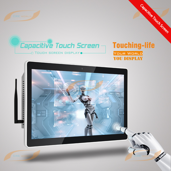 22 inch tft wall mount high resolution multi-touch capacitive touch screen display with wifi and built-in PC