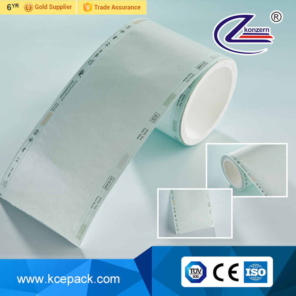 Medical supply sterilization flat pouches roll for medical devices packaging