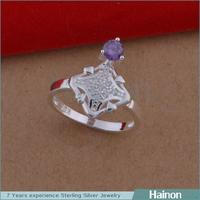2015 platinum surfaced square rings with purple zircon