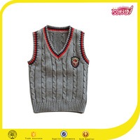 Wholesale school uniform factory kid knit vest pattern child sleeve sweater and hand makeing design