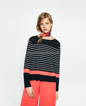 MULTI -STRIPED SWEATER Fine knit Long sleeves and asymmetric hem young lady pullover 50% acrylic, 50% viscose