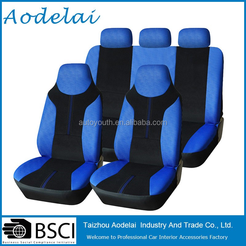 Polyester Fabric Seat Cover with Black and Blue stripe unique Car Seat Covers