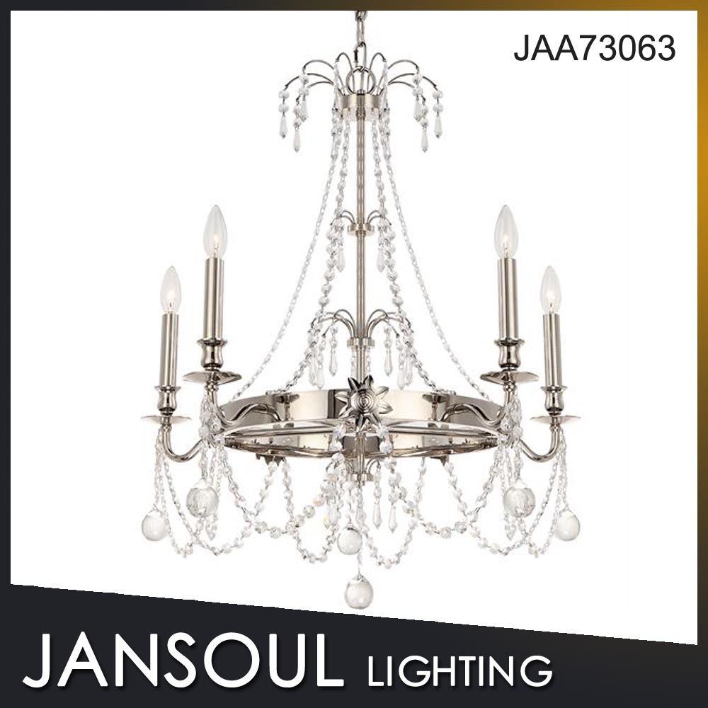 Jansoul Chrome Plated Crystal Candle Chandelier Pendant Light for Hotel/Home