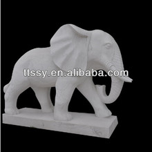 White marble elephant sculpture