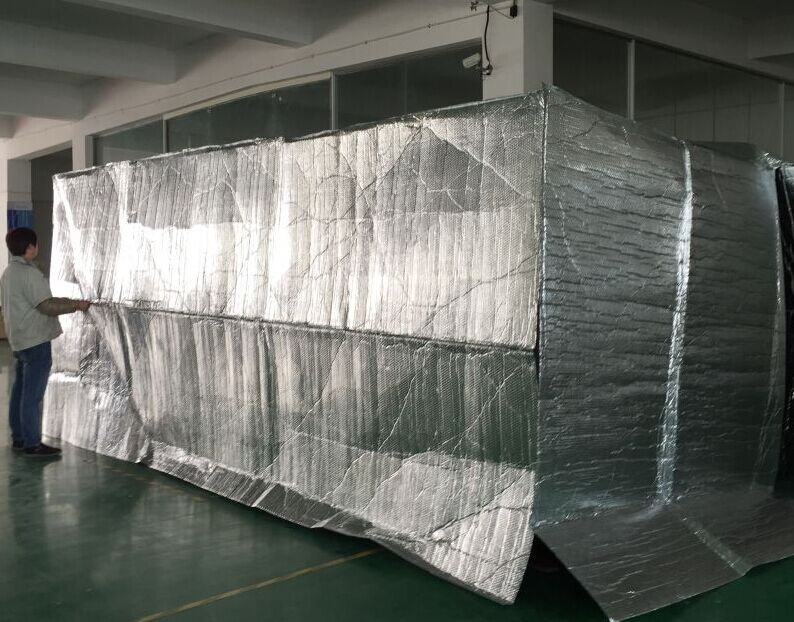 Reflective roofing sheet thermal insulation container