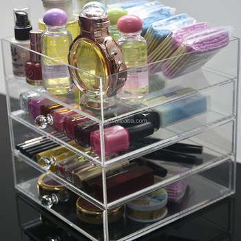 Custom Large Plastic Crystal Lucite Clear Acrylic Cosmetic Makeup Organizer Storage