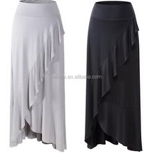 Summer Apparel Women's Casual Ruffled Pleated Wide Waistband High Low Maxi Skirt With Asymmetric Hem