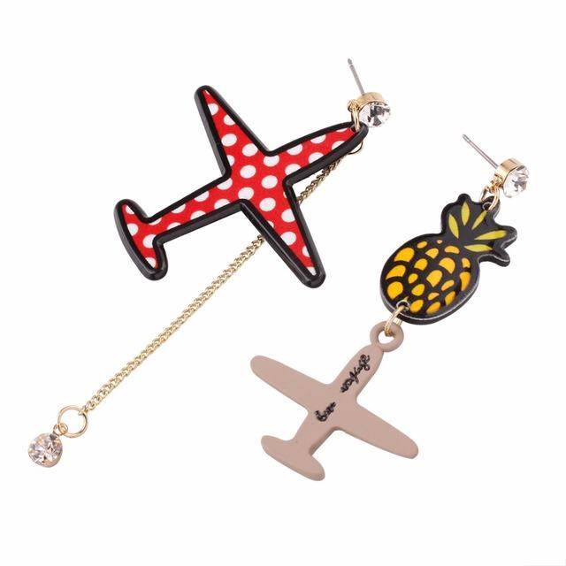 The Korean version of the new diamond earrings personality fruit pineapple plane asymmetric Korean jewelry butterfly