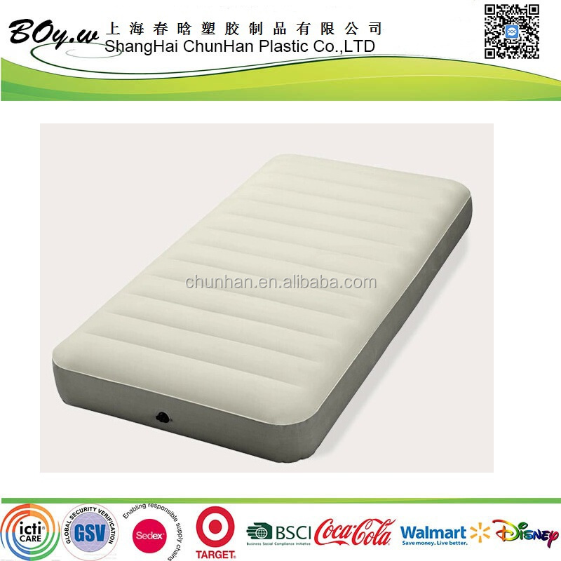 Gold manufacturer new design fashion new design single single air mattress light pvc flocked inflatable twin air bed with lines