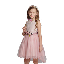 Chinese Cheap Pageant Sleeveless Flowers Belt Tulle Flower <strong>Girl's</strong> <strong>Dress</strong>