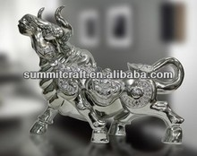 Pianted oem high-grade resin buffalo figurine home decor for sale