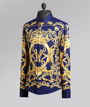 Customized design 100% silk luxury printing long sleeve casual shirt