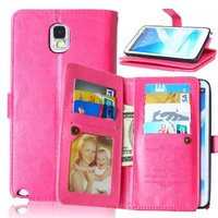 For Samsung Galaxy Note 3 9 Cards Slot Photo frame PU Leather Wallet Case 2 in 1 Magnetic Detachable Back Cover Flip Phone Cases