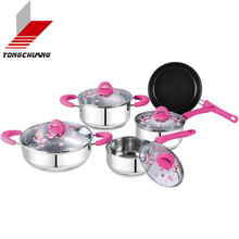 Automatic size 16-30cm 5 pcs enamel strait pot sets &cookware with full decal and glass lid of CE Standard
