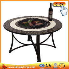 Barbecue outdoor fire pit table with ceramic tiles