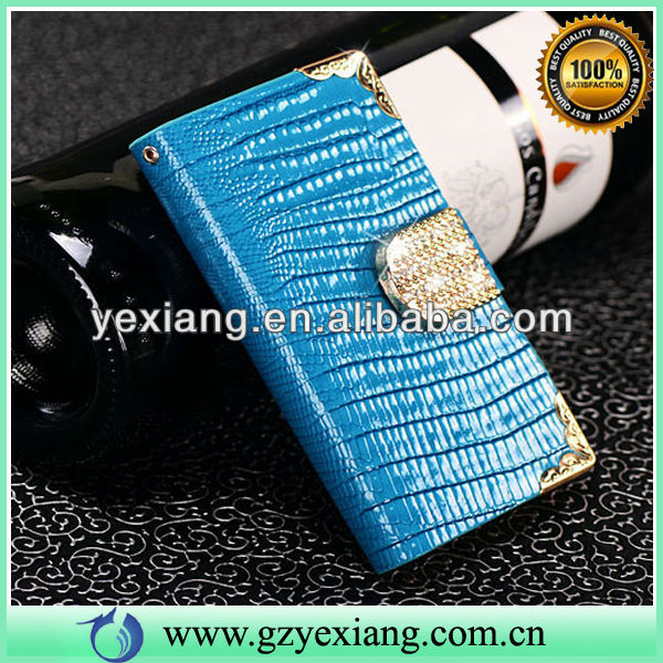 Blue Shining Diamond Decoration Cell Phone Bling Leather Phone Cover For Iphone 5