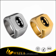 Latest Gold Finger Ring Designs Batman Dark Knight Super Hero Polished Tungsten Engraved Ring Jewelery