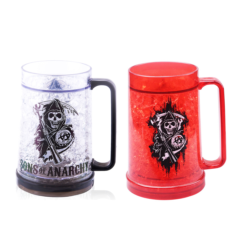 New Design 16Oz Double Wall Flashing Frosted Beer Mug