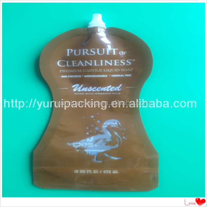 custom laminated material stand up spout pouch bag /reusable food spout pouch for liquid packaging