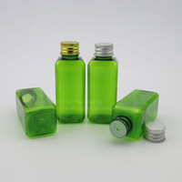 Wholesale 50ml green square pet plastic bottle for cosmetic cream use