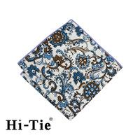 Hi-Tie SP 0112 Floral Handkerchief New , 100 Cotton White Handkerchief Personalized