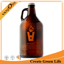 Half Gallon 64oz Glass Growlers Amber Colored For Cold Brewed Iced Coffee With Screen Printed