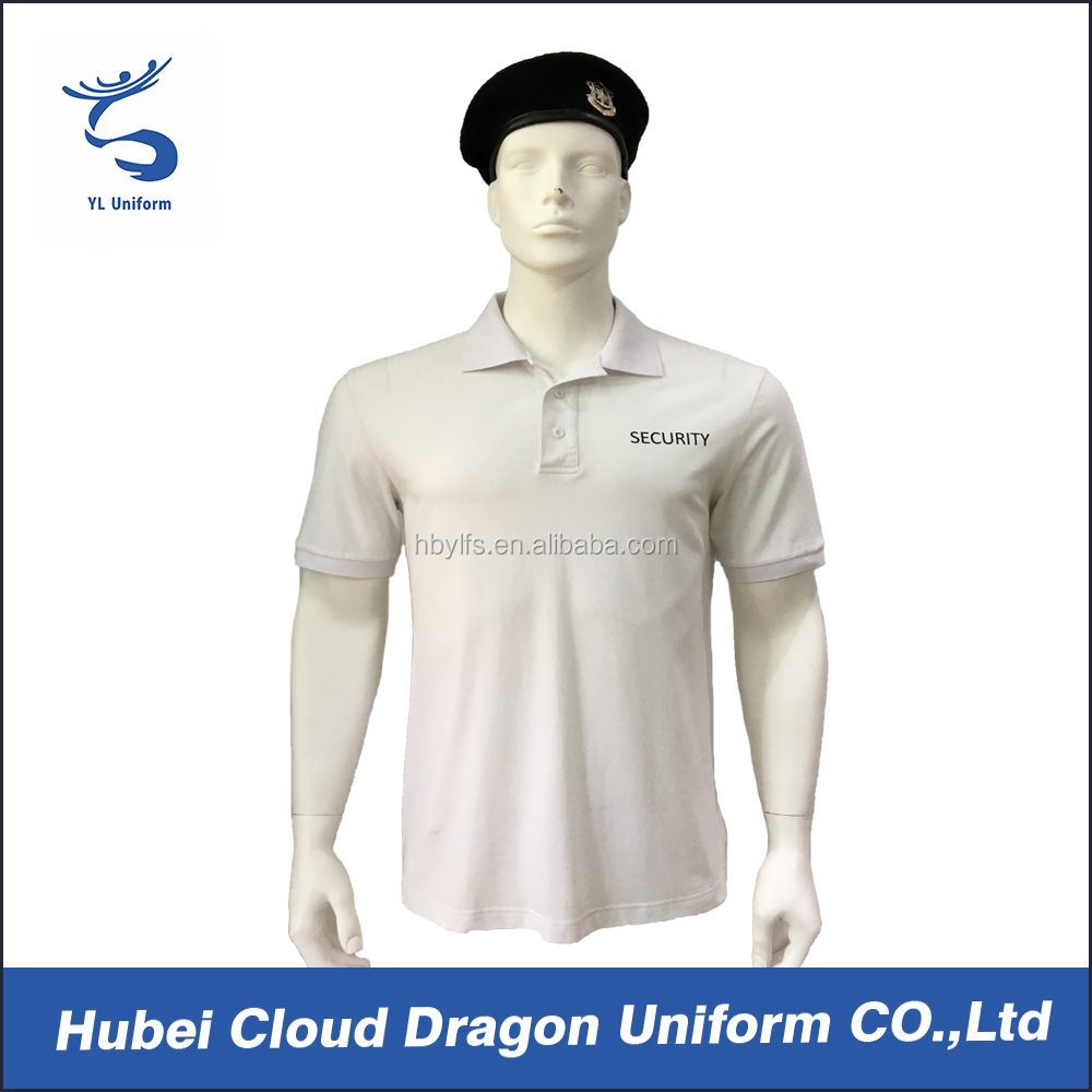 White security tactical polo OEM service security clothing for men