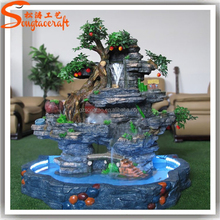 Hot sale artificial water fountain fiberglass outdoor decorative artificial rock fountain