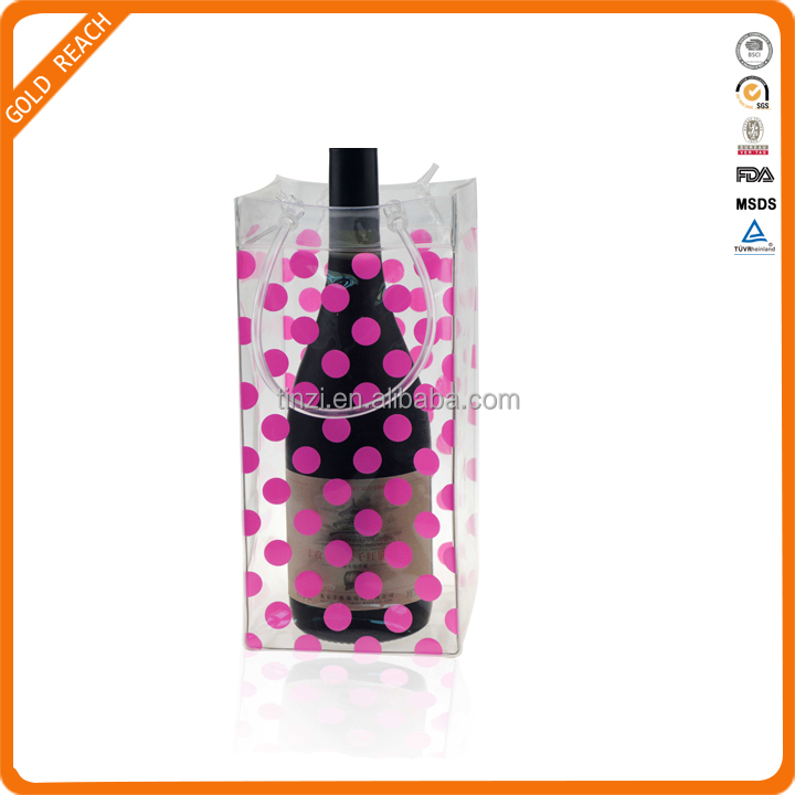 Foldable Wine Bottle Cooler Bags,Plastic Ice Bag for Wine