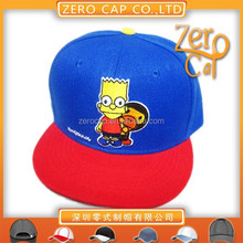 Custom children 2d embroidered snapback cap with cartoon logo