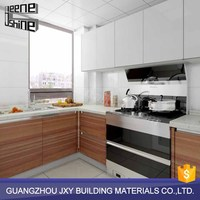 Custom design plywood kitchen cabinet glass doors fashion kitchen cabinet set acrylic cabinet