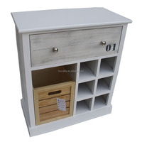 White wooden wine display cabinet