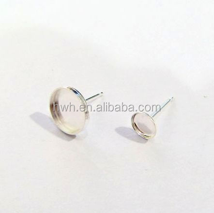 H1453-5mm Hot Earring Stud Findings Round Solid Silver