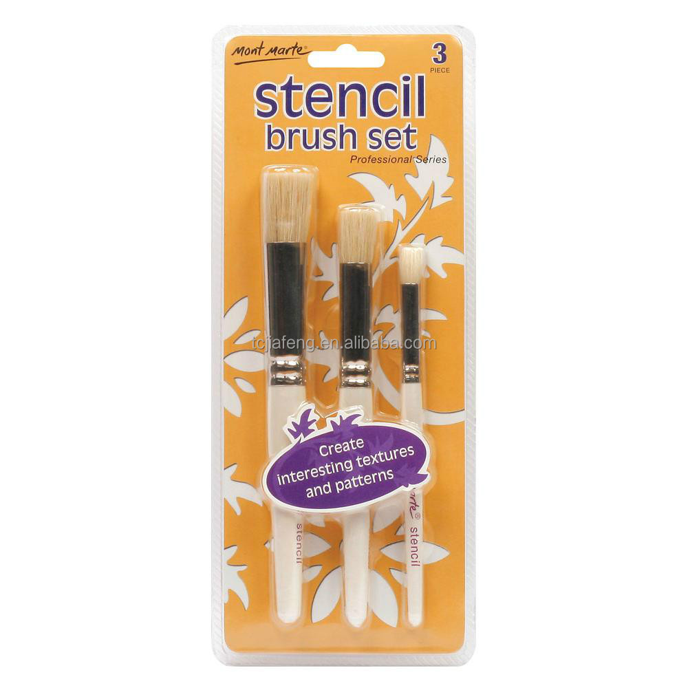 Mont Marte Professional Stencil Brush Set 12/8/4