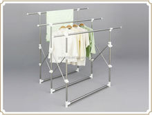 Telescopic folding stand hanger clothes rack