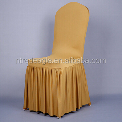 high quality gold pleated spandex chair cover for banquet decoration