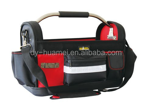 HM02018 Open tool tote with hard bottom tubular tool bag 1680D