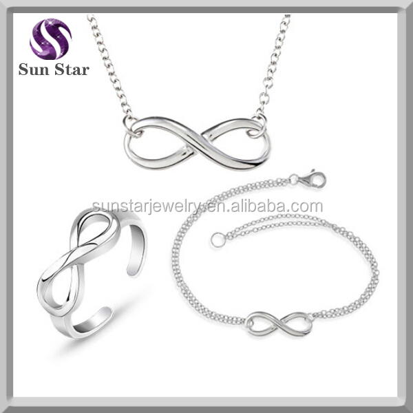 Wholesale fashion infinity love necklace bracelet ring jewelry set