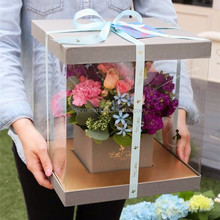 Exquisite plastic clear flower delivery box,single flower box