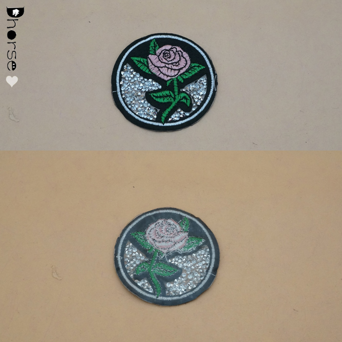 New style Round pattern Acrylic stone Rose fancy embroidery patch for garment
