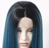 1B/blue bright colored 14inch~26inch Heat Resistant Synthetic front lace Wigs high temperature fibre