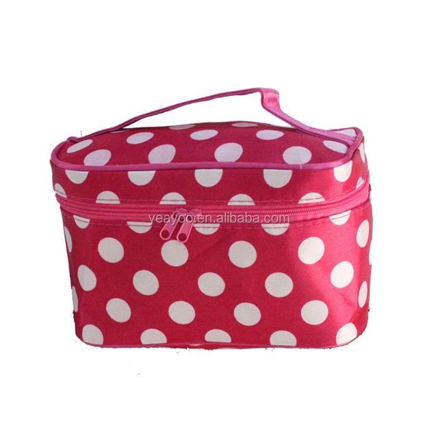 Pu Leather Cosmetic bags wholesale, cosmetic bag set organzer,Pink stripe printed custom cosmetic bag