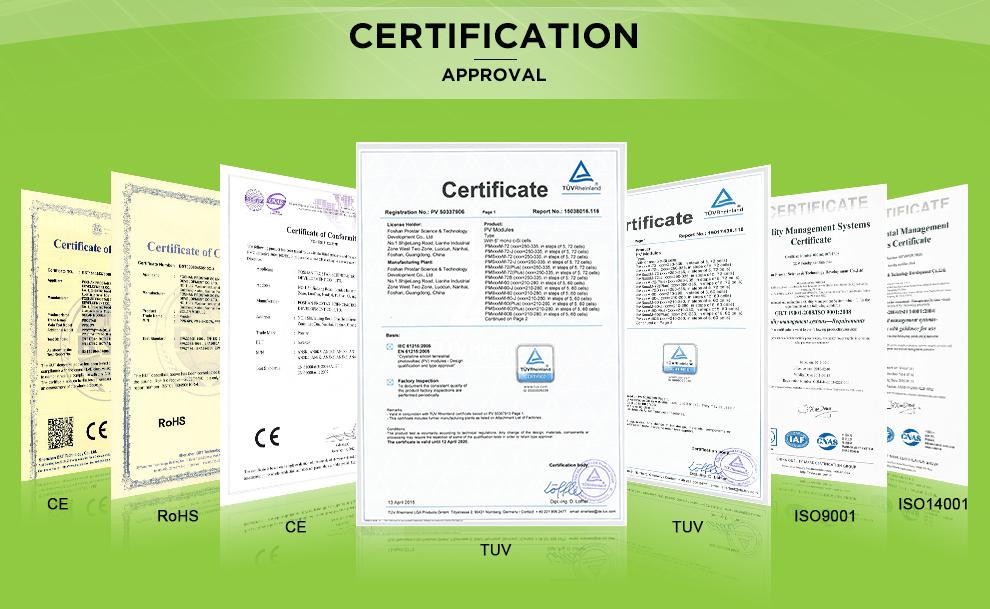 Prostar Solar TUV certificate