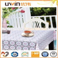 Easy washable reusable lace plastic coated tablecloths