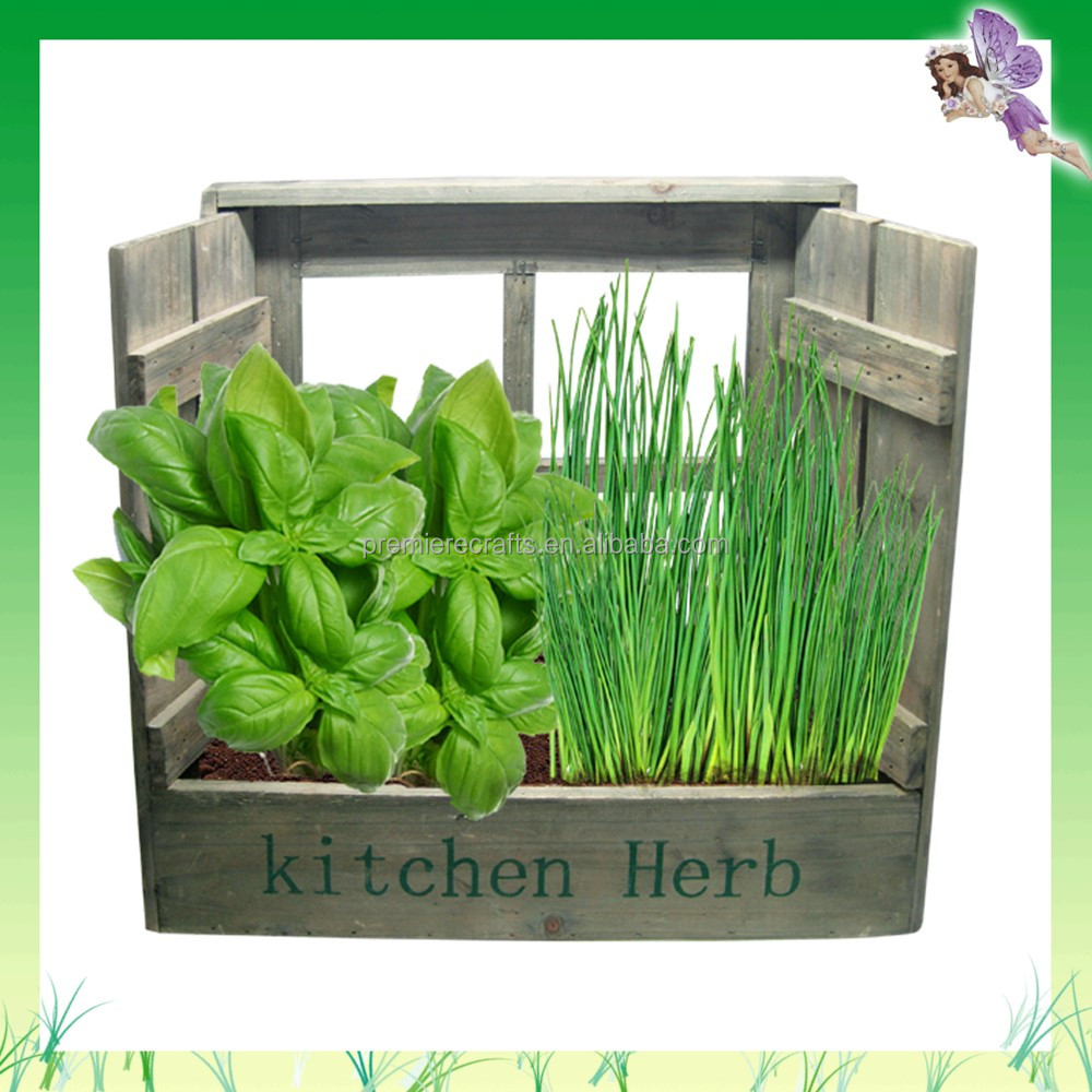 Window wood planter flower pots in mail box packing for herb seeds