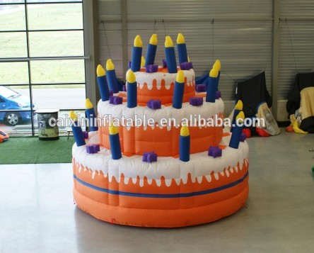 customized new design printed giant happy inflatable birthday cake model