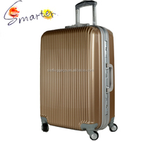 Luxury Golden Color Super Hard Plastic Luggage With Aluminum Frame