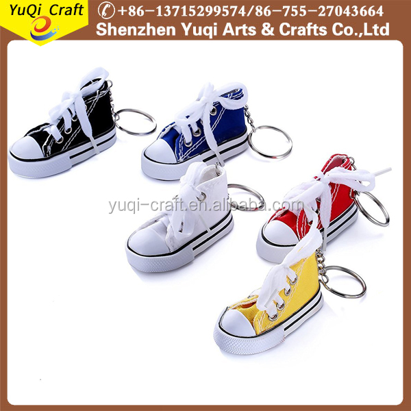 Promotional gift 3d running canvas shoe keychain